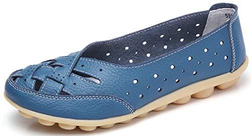 Gaatpot Damen Mokassin Lederschuhe Bootsschuhe Leicht Loafers Flache Fahren Schuhe Sommer Slippers Halbschuhe Blau 38EU=39CN