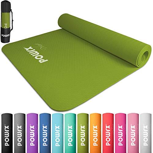 POWRX Yoga Mat Pro inkl. väska + gratis träning - Yogamatta halkfri TPE miljövänlig I gymnastikmatta 173 x 61 x 0,5 cm I träningsmatta hudvänlig olika. Färger (Kiwi)
