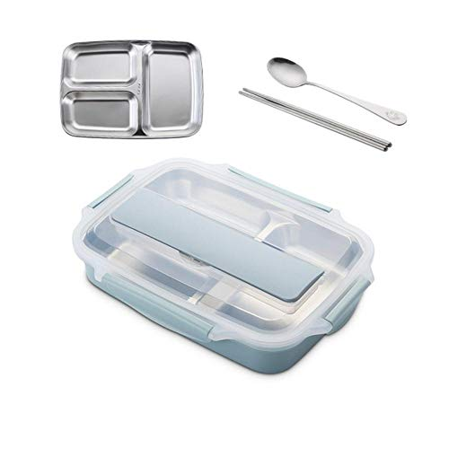 Piero Roestvrijstalen lunchbox met lepel Lekvrije lunch Bento-boxen Servieset Magnetron Volwassen kindervoedselcontainer, klein blauw