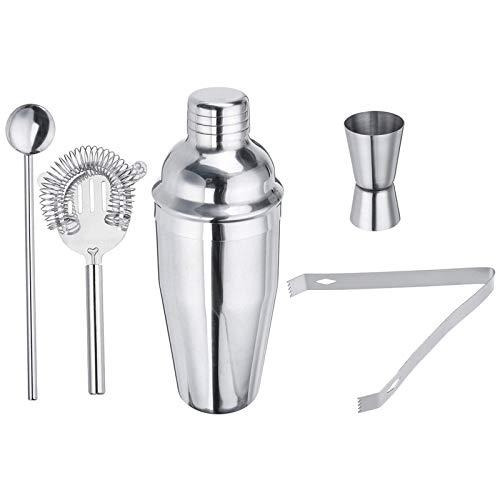 Coctelera de acero inoxidable, 5 piezas, para cócteles, bebidas, camarero, mezclador, barra mezcladora, kit de herramientas para