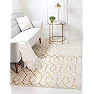 Unique Loom Marilyn Monroe Glam Collection Textured Geometric Trellis Area Rug, 2 x 3 Feet, White/Gold