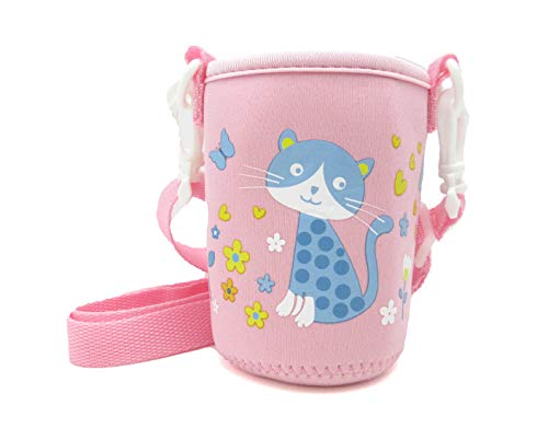 panda family(パンダファミリー) 水筒カバー 水筒ホルダー ペットボトル 缶 ぴったり 伸縮性 肩掛け キッズ 子供用 かわいい キャラクター ピンク Mタイプ(ネコ)