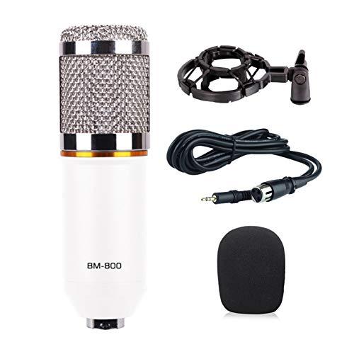 AchidistviQ Live K Song Bm800 Kondensatormikrofon Mobiltelefon 3,5 Mm Kabelgebundenes Kondensator-PC-Mikrofon Mit Mikrofonständer Weiß