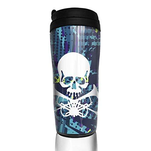 Schädel mit Trompeten-Mode Isolierreisender-Kaffeetasse-Trommel-Kaffeetasse 12 Unze
