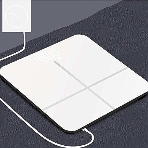 JFFFFWI Báscula de pesaje Digital, báscula de baño Weight Watchers, báscula electrónica de Pantalla Oculta Ultra Delgada de Alta precisión, con Cable de Carga USB, Blanco