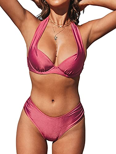 CUPSHE Women's Underwire Halter Bikini Set V Neck Push Up Mid Waisted Ruching Bathing Suit Red XL