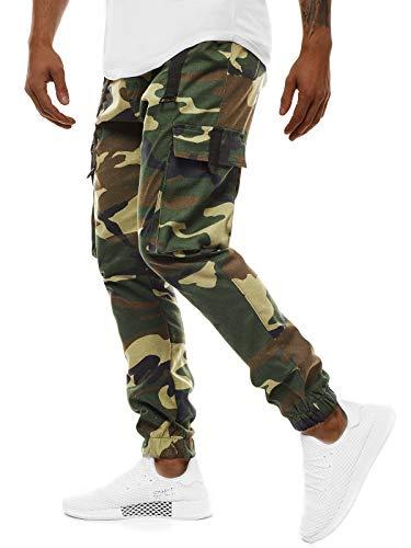 OZONEE Herren Chino Hose Chinos Lang Stoffhose Jogger Chinohose Pants Cargohose Cargo Freizeithose Arbeitshose Sporthose Slim Fit Regular Casual Stretch Taschen O/11105 GRÜN XL