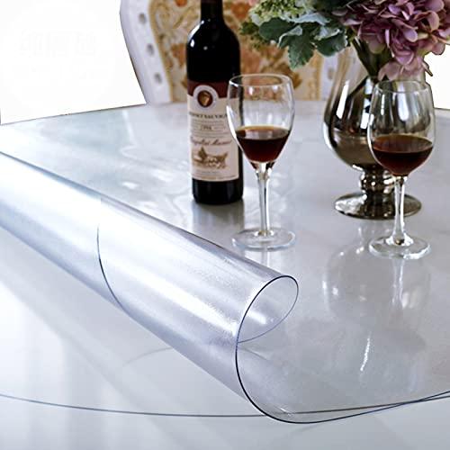 Limpiar PVC Mantel redondo de 2 mm de vinilo Oilcloth mesa de la cocina cubierta protectora impermeable / suave vector de cristal cubierta del rollo Claro esmerilado - 130 140 150 cm personalizable