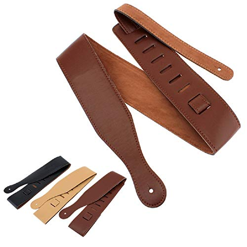 ReedG Vintage Woven Guitar Strap Soft Cotton Leather Guitar Strap With Leather End Length Adjustable 43-51 Inches Unique Gift For Guitarist Suitable Adjustable for Electric/Acoustic Guita