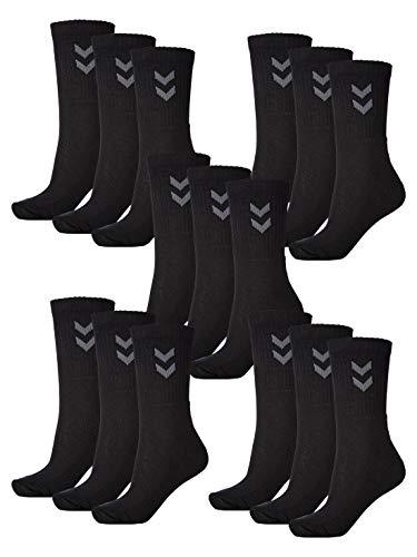 Hummel Lot de 15 paires de chaussettes de sport unisexes Noir Taille 46/48