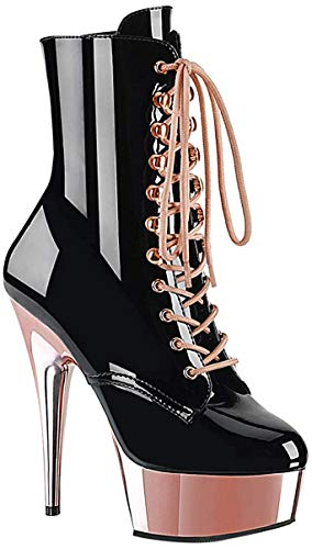 Pleaser DELIGHT-1020 Damen Plateau Stiefelette, Lack Schwarz/Rose Gold, EU 40 (US 10)