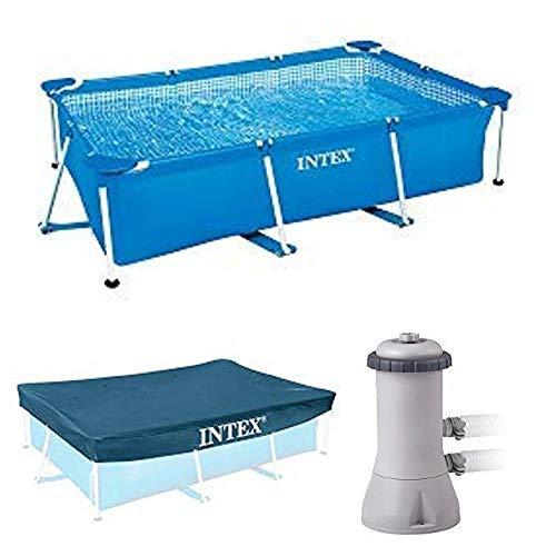 Intex Rectangular Frame Pool - Aufstellpool - 260 x 160 x 65 cm + Rectangular Pool Cover - Poolabdeckplane - 300 x 200 cm + Krystal Clear Cartridge Filter Pump - Pool Kartuschenfilteranlage - 900 L/H