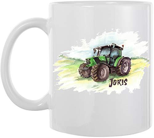 EZYshirt® Traktor mit Wunschnamen | Trecker Aufdruck Kaffeetasse Kaffeebecher