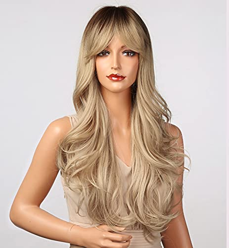 LEMEIZ Peluca rubia de miel marrón con flecos, pelo sintético largo para mujeres, peluca ondulada sin pegamento de aspecto natural LEMEIZ-145