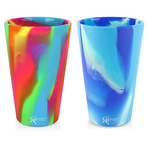 Silipint Silicone Pint Glass Set of 2, Patented, Shatter-proof, Unbreakable Silicone Cup Drinkware - One of Each Pint Glass - Hippie Hop, Arctic Sky