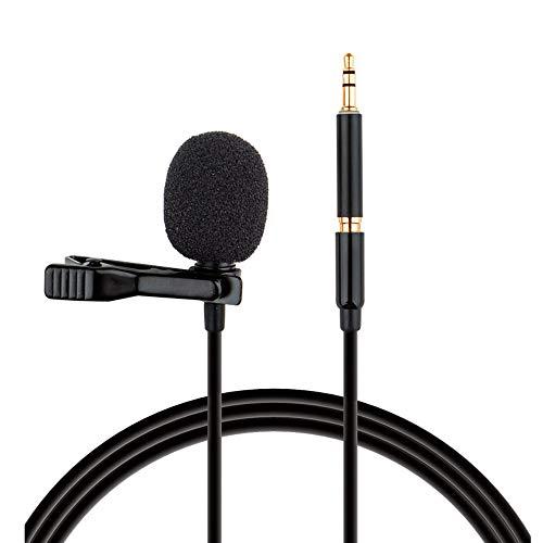 Mini colar de microfone de lapela com clipe Staright Microfone de condensador com clipe de 3,5 mm, adequado para smartphone PC, laptop, computador, bate-papo, cantando, karaokê, com, bolsa de transporte