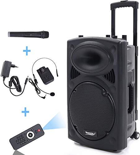 15 zoll tragbarer Lautsprecher Mobile kabellos PA Sound Anlage 700w Soundsystem mit Bluetooth Akku-MP3-USB-SD inkl. Funkmikro Soundsystem,Port15 VHF