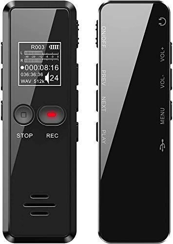 Tschisen Grabadora, Grabadora de Voz Espia con 8GB Grabadora Espia con Reproductor MP3 Grabadora de Voz Digital 1536Kbps Profesional Protección de Contraseña y Función de Timestamp Carga USB