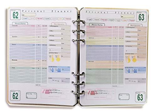 """ricambio/ricarica per agenda organizer""""formato A5"""" con 6 anelli 14x20cm (AgenDieta)"""