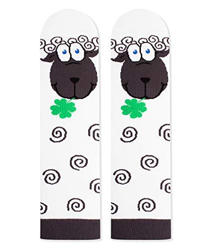 Pirin Hill - Calcetines de algodón para mujer, diseño de animales, multicolor Ovejas. 35/38 EU