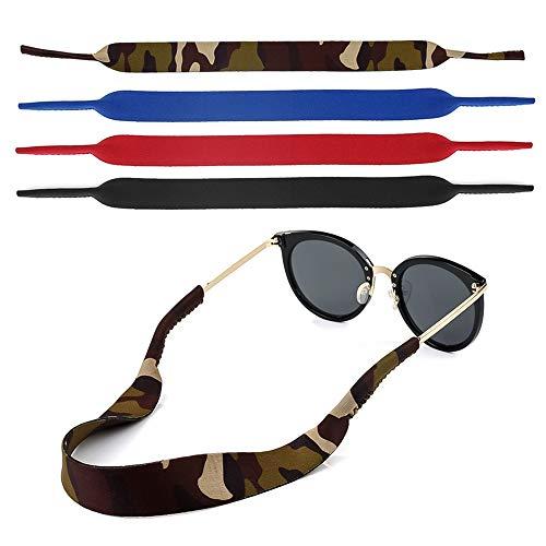 Gafas para gafas y gafas de lectura, gafas de esquí. Gafas. Gafas. Anteojos. Cadena de gafas. Cadena de gafas. Neopreno. Correa para gafas. Elástico 4 piezas en varios colores - impermeable.