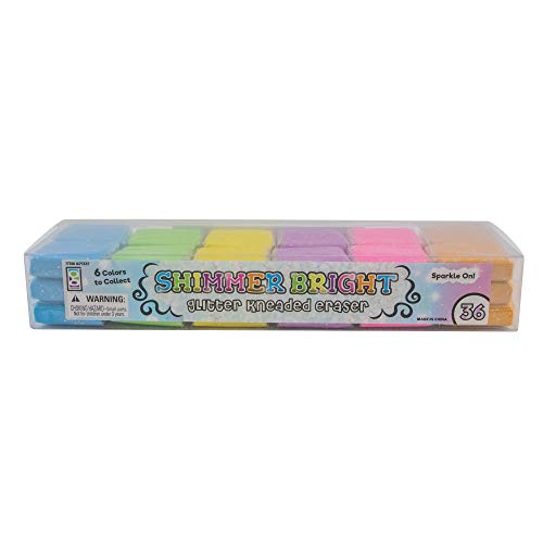 Raymond Geddes Shimmer Bright Glitter Kneaded Erasers (Pack of 36)