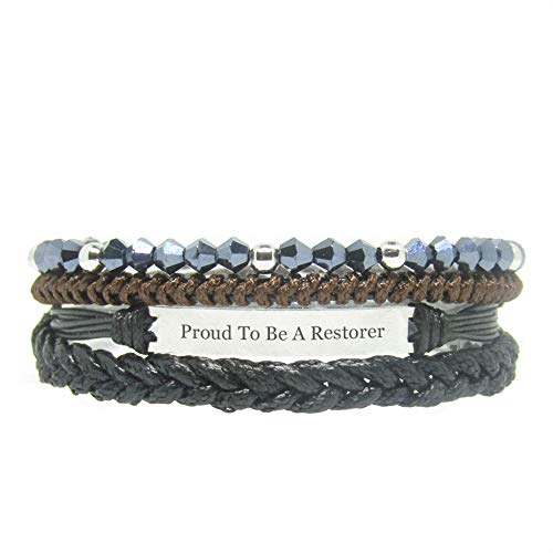 Miiras Job Engraved Handmade Bracelet - Proud to Be A Restorer - Black 6 - Made of Braided Rope and Stainless Steel - Gift for Restorer