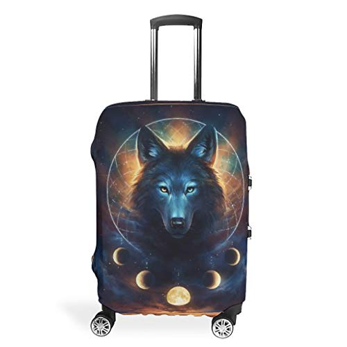 Wolf Animal Suitcase Protector Reusable Anti-Scratch Fits 18-32 Inch for Wheeled Suitcase Over Softsided White 19-21in