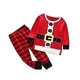 BUKINIE Tenues à Manches Longues + Pantalons à Carreaux pour bébé de Noël garçons Nouveau-nés Filles Deux pièces de Noël Playwear Set(Rouge,1-2 Années)