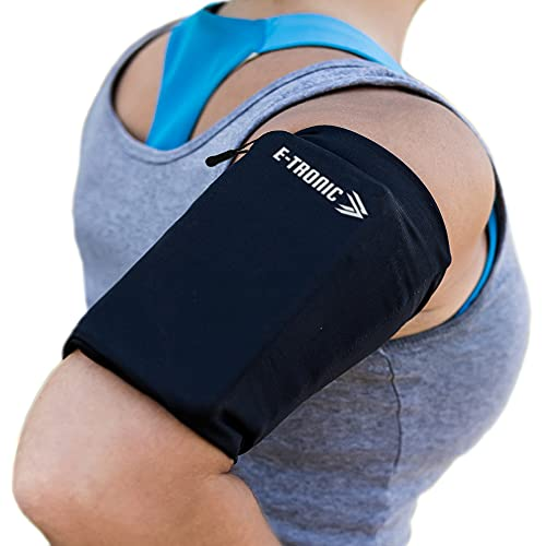 E Tronic Edge Phone Armband Sleeve: Running Sports Arm Band Holder Pouch Case for Exercise Workout Compatible with iPhone 5S SE 6 6S 7 8 X Plus iPod Android Samsung Galaxy S5 S6 S7 S8 Black Medium