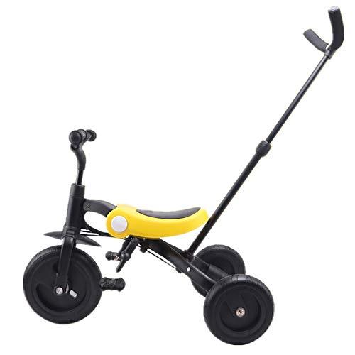 Equilibrio Bebé Juguete Bicicleta Triciclo plegable versátil para niños De 18 meses a 5 años Triciclo para niños Tirador desmontable y ajustable Empuñaduras antideslizantes Pedales antideslizantes Tri