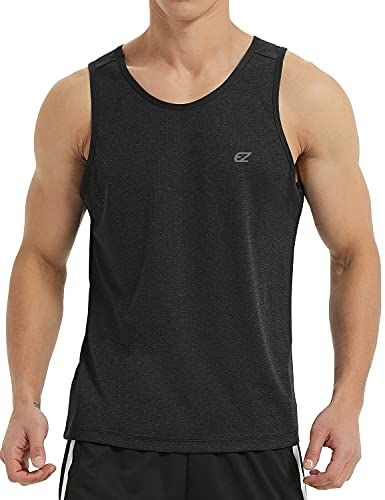 EZRUN Men's Tank Tops Quick Dry Workout Sleeveless Shirts for Bodybuilding Gym Jogging Running Fitness Training (Black,L)