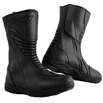 Bottes Racing Cuir Vachette Moto Motard Chaussures Renforcées Piste noir 41