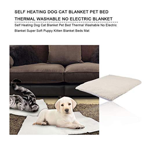 Verwarmingsdeken voor katten, auto, verwarmd bed, voor huisdieren, wasbaar, geen elektrische deken, super zacht, voor puppy's, deken voor kattenbed (beige + 640 x 460 mm)