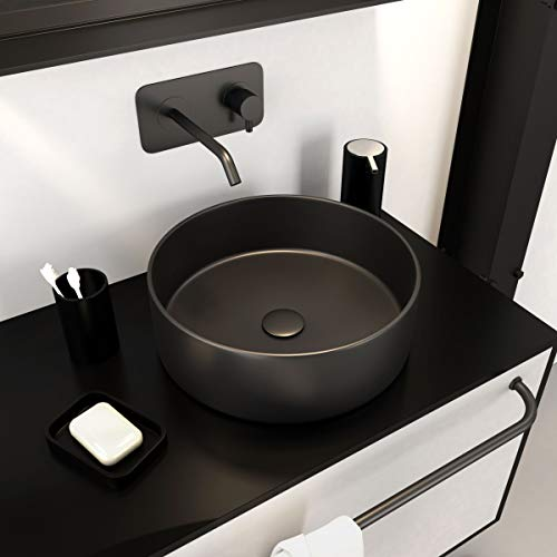 AURLANE - Lavabo de mesa redondo Roundy Dark de cerámica, 36 x 12,5 cm, color negro