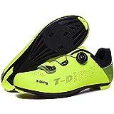 KUXUAN Zapatillas De Ciclismo Calzado para Hombre,Sistema De Bloqueo Antideslizante Calzado De Ciclismo Calzado Transpirable para Bicicleta De Carretera Hombres Adultos,Green-43EU