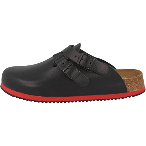 Birkenstock Kay Professional Clogs Ankle Strap Leather Black Supergrip Softfootbed