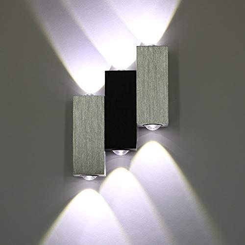 Lightess 6W LED Applique da Parete Interno Moderno in Alluminio Lampada da Parete per Camera da Letto Corridoio Bianco Freddo