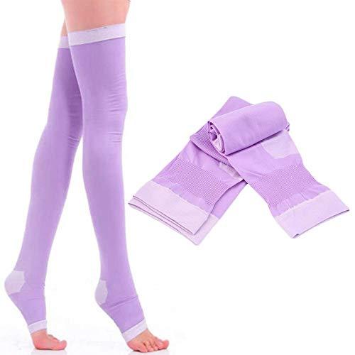 Compressie Sokken 2 paar Anti-Varicose Voorraad Ademend Over Knie Sokken Been Slanke Dijvet Burn Panty's Voor Meisjes Slapen Draagbaar Voorkomen Spataderen Paars
