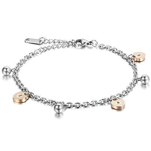 Cupimatch Fußkettchen Edelstahl Rosegold Silber, Herzen Glocken Anhänger Fusskette Armkette für Damen Mädchen Frauen