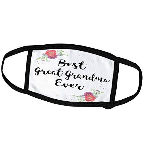 3dRose Floral Best Great Grandma Ever Cursive Pretty Watercolor Pink. - Face Masks (fm_312047_1)