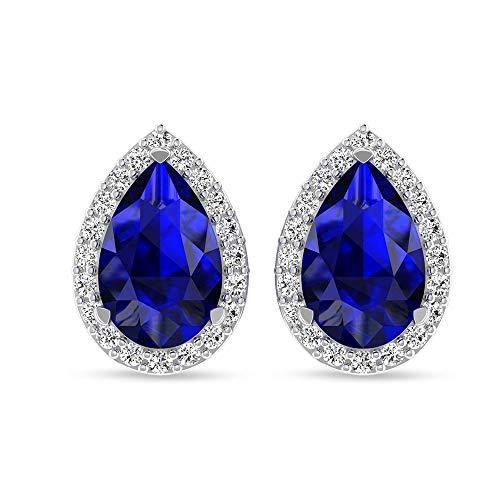 Pendientes de zafiro azul con forma de pera de 2,1 quilates, 0,25 quilates con certificado SGL, HI-SI Color Clarity Halo Aretes, 14K Oro amarillo, Par