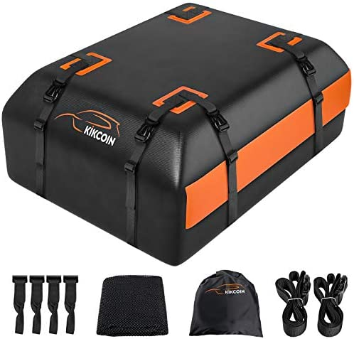 Car Rooftop Cargo Carrier Bag, Expandable 15 to 19 Cubic Feet 100% Waterproof Car Roof Bag for All Vehicle With/Without Racks, with Storage Bag, Anti-Slip Mat, 8+2 Durable Straps, 4 Door Hooks