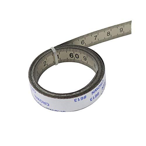 Vogueing Tool De derecha a izquierda 0 a 5 m de acero inoxidable de la pista de inglete de la cinta métrica autoadhesiva para la sierra de inglete herramientas de carpintería T-Track (plata)