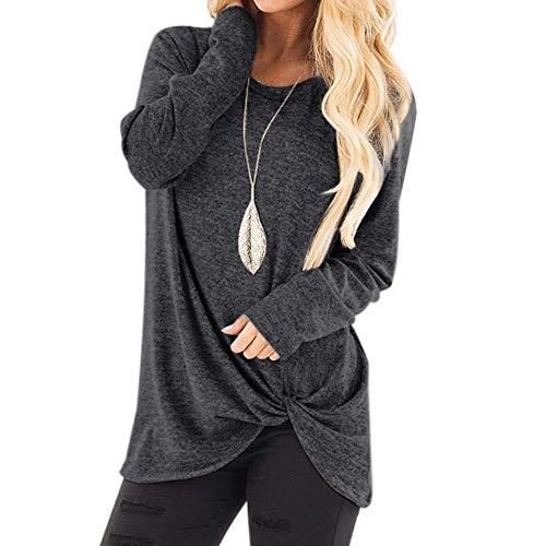 Keerads - Camiseta sin tirantes para mujer, talla grande, manga larga, color liso gris oscuro S