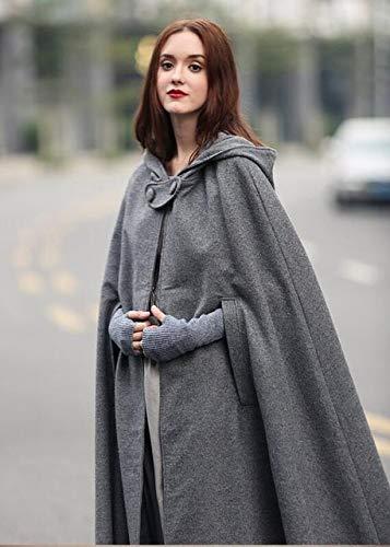 Capa Medieval Abrigo con Capucha Thin Women Vintage Gothic Cape Coat Long Trench Overcoat 2019 Mujeres Halloween Cosplay Disfraz Cloak S Grey