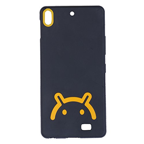 iCandy™ Android Smiley Matte Finish TPU Soft Back Cover for Gionee Elife S5.1 - Black