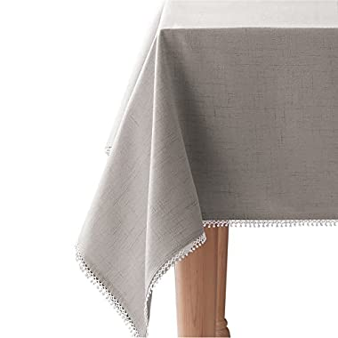 Lenox French Perle Solid 60 x120  Oblong Tablecloth, Dove Grey