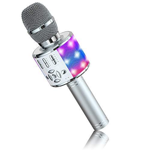 Microfono Karaoke Cambia Voce BONAOK,Microfoni Karaoke, Altoparlante Microfono Karaoke LED per Bambini, Dispositivo Karaoke KTV da Casa, Compatibile con Dispositivi Bluetooth iOS Android (Siber)