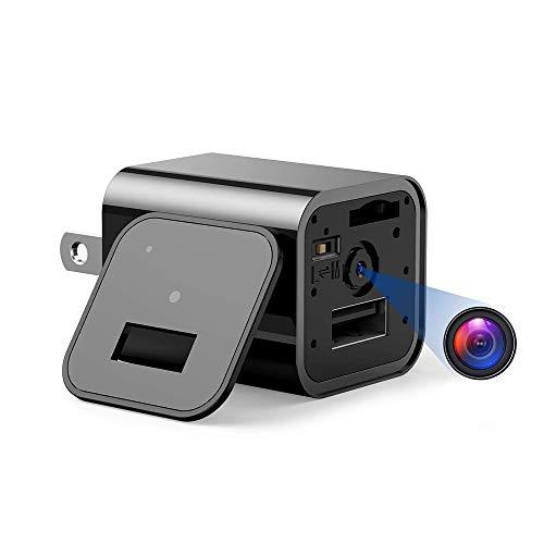 隠しカメラ スパイカメラ ACアダプター型 1080P 高画質 ループ録画 動体検知 32GBカード付き 長時間録画 音声付き 防犯監視 ブラック
